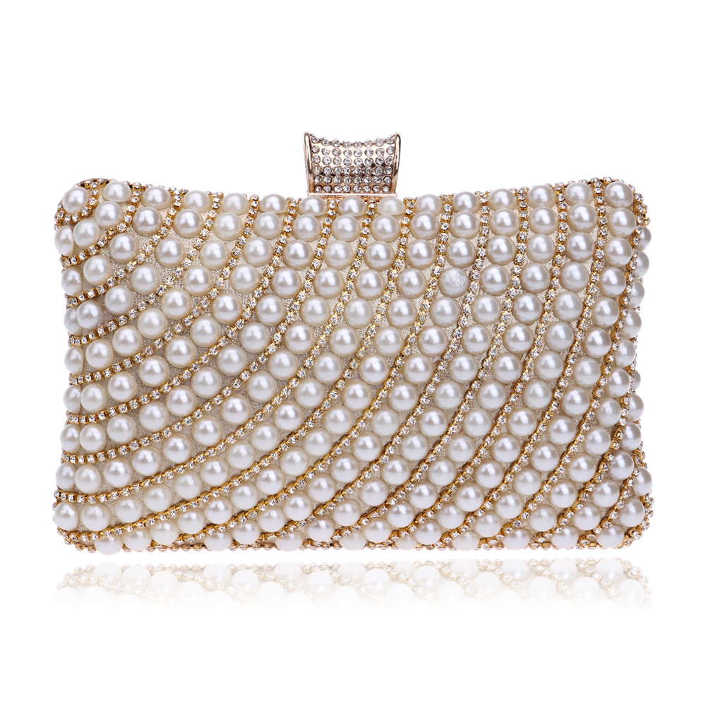 Fashionable Evening Bag with Shining Diamonds and pearls for Ladies, Beaded Evening Clutch with Chain цены онлайн
