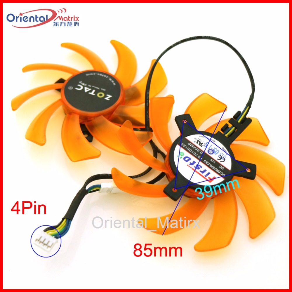 2pcs/lot FD7010H12S 12V 0.35A 4Pin 85mm 39*39*39mm VGA Fan For ZOTAC GTX760-2GD5 GTX770-2GD5 HA Graphics Video Card Cooling Fan 4pin mgt8012yr w20 graphics card fan vga cooler for xfx gts250 gs 250x ydf5 gts260 video card cooling