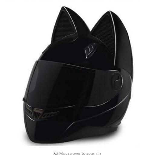 2018 motorcycle helmet cat ears personality full hair helmet color pink yellow