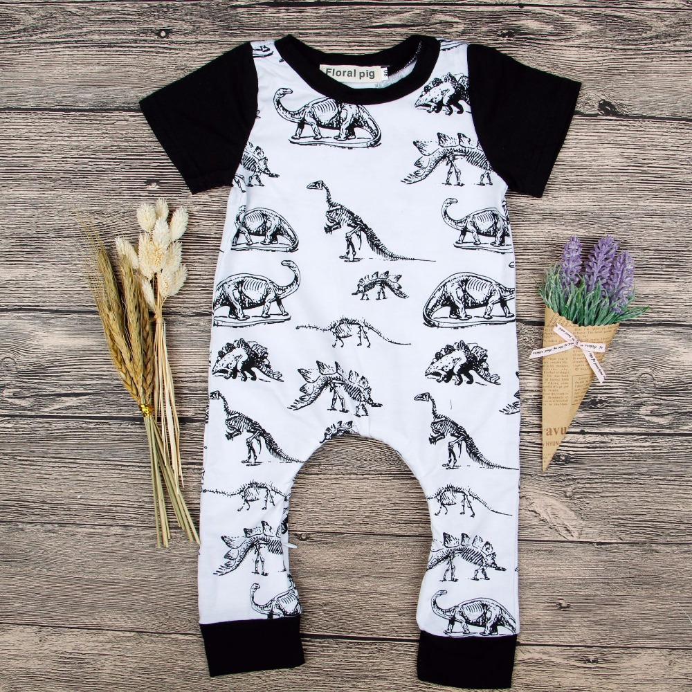 2018 Baby Dinosaur Romper Party Baby Boy Girl Jumpsuit Boy Romper 1St Birthday Outfits Baby Girl Boy Onesie Baby Summer Outfits