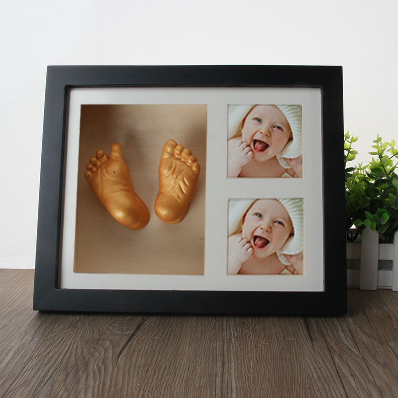 hot sale cute baby photo frame diy 3d handprint or footprint souvenir safe inkpad non toxic