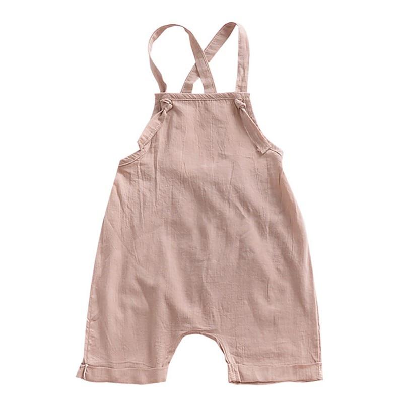 Cotton Blend Bib Baby Girl Solid Color Suspender Overalls Infant Boy Jumpsuit Summer Toddler Infant Clothing   Rompers