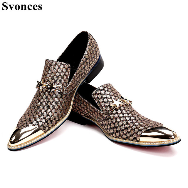 1a0e2bd16943 Svonces Mens Italian Leather Shoes Iron Pointy Toe Loafers Slip on Prom Shoes  Men Casual Shoes Luxury Brand Flats With Chains
