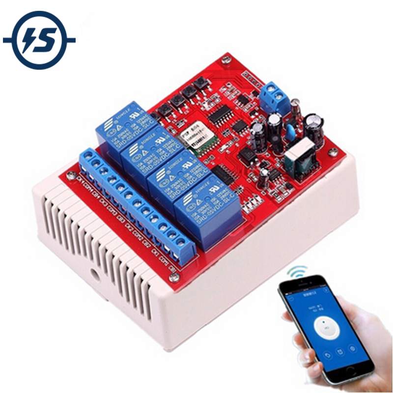 220V 4 Channel Wifi Relay Switch Module Phone APP Wireless Remote Control Jog Self-Lock Interlock w/Shell for Android IOS Phones