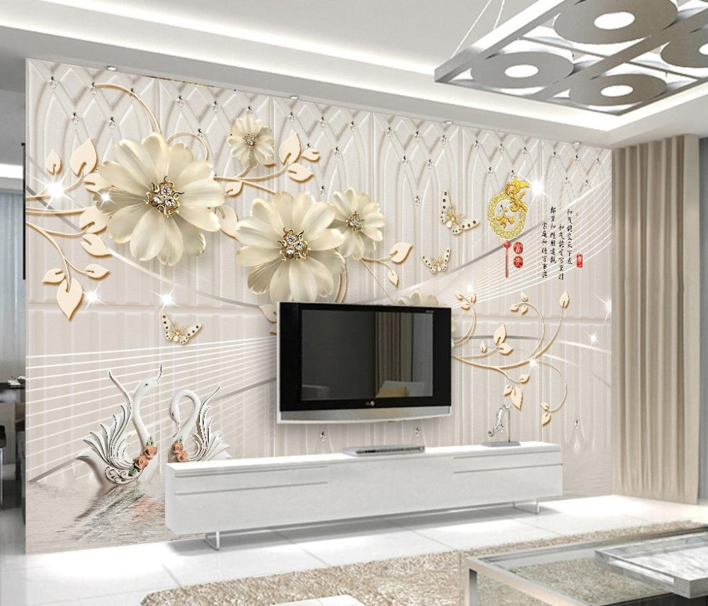 Custom european 3d murals wallpaper flowers beautiful for Beautiful wall mural