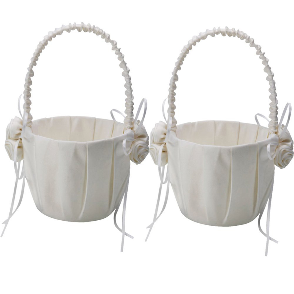 2pcs Rose Decorated Satin Flower Girl Basket For Wedding Ceremony