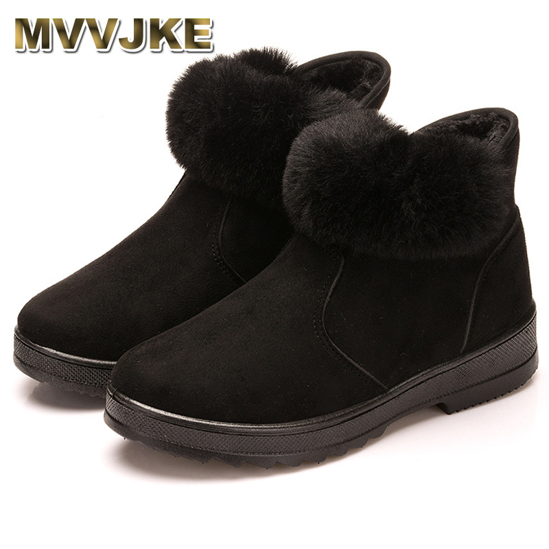 MVVJKEWoman Shoes Woman Winter Snow Boots Warm Ankle Boots Platform Rubber Female Boots Winter Snow Footwear Lady Low Heel Shoes platform bowkont flocking snow boots page 5