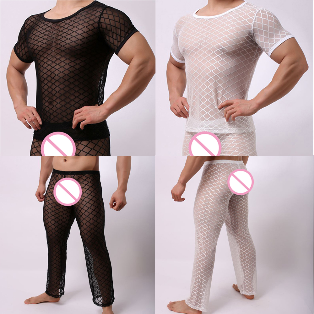 Fishnet Pajamas Sets Mens Tranparent Tank Tops Pants Trousers Mesh Sleep Vest Undershirts Bottoms Sleepwear Underwear Nightwear Men's Pajama Sets Men's Sleep & Lounge
