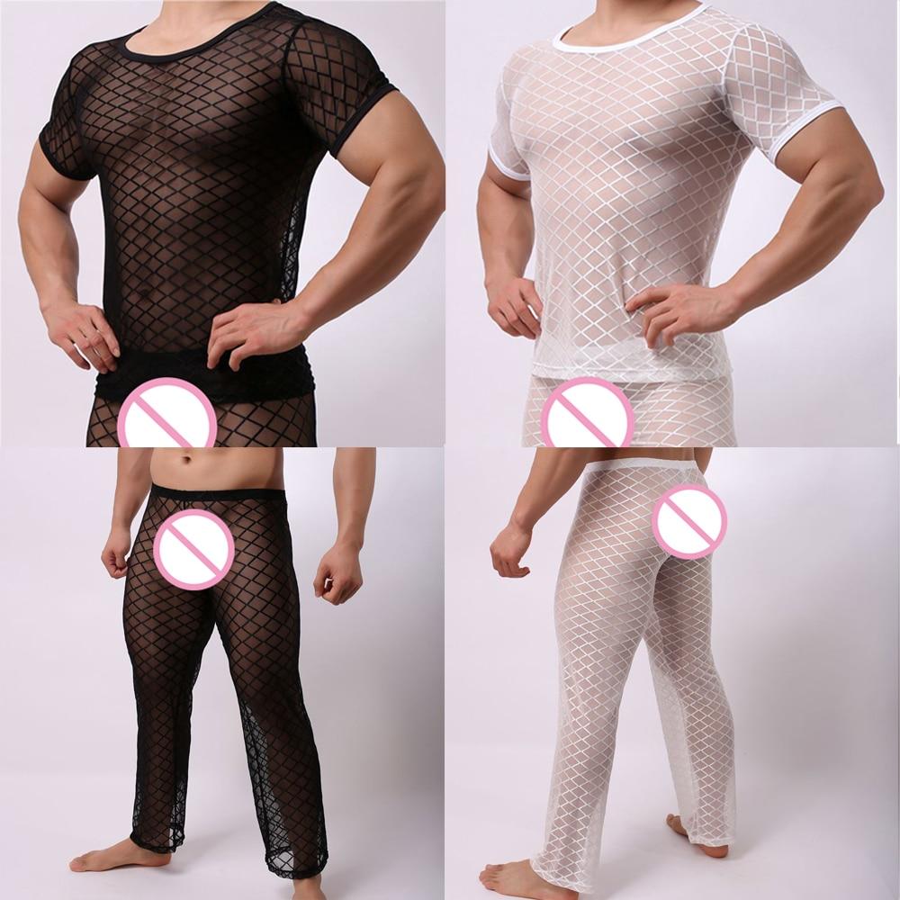 Fishnet T Shirt Men's Mesh Pajamas Sets Men Sexy Underwear Sleep Tops Tshirts Pants Trousers See Through Transparent Sleepwear(China)