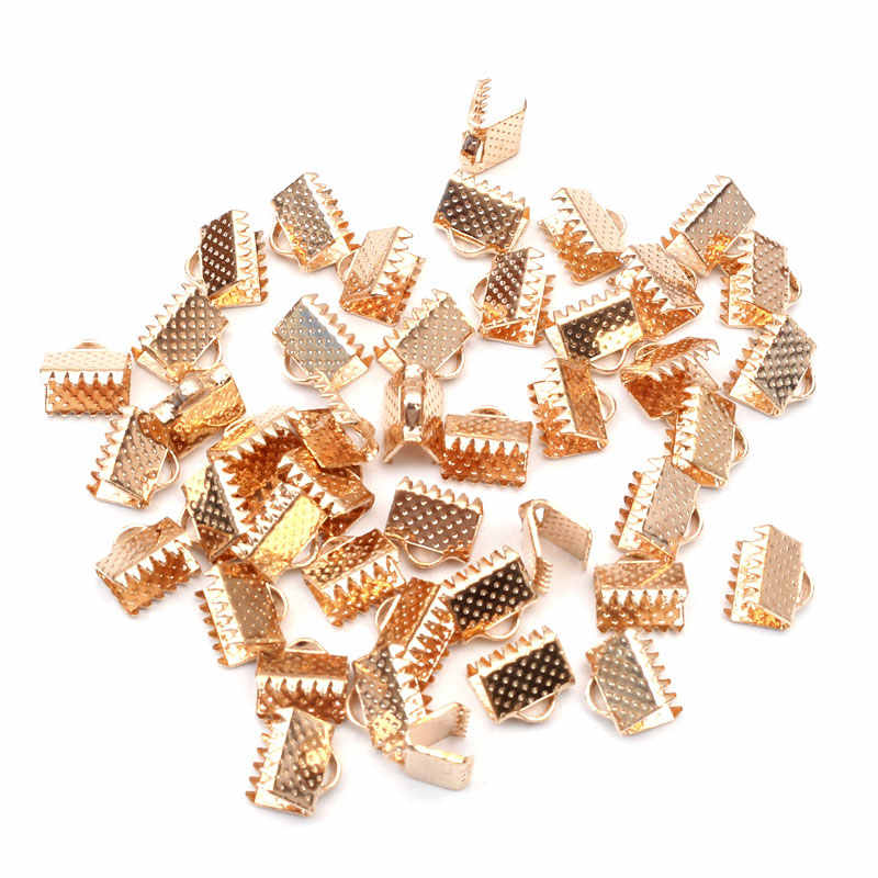 100pcs 8mm Textured End Caps Crimp Beads Cord Flat Cover Clasps Clip Foldover Fit Jewelry Necklace Connectors DIY Accessories
