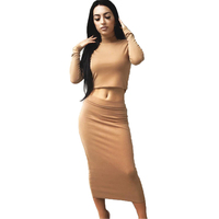 Cotton Long Sleeve Midi Winter Women Dress 2017 New Fashion 2 Pieces Outfits Sexy Club Bodycon