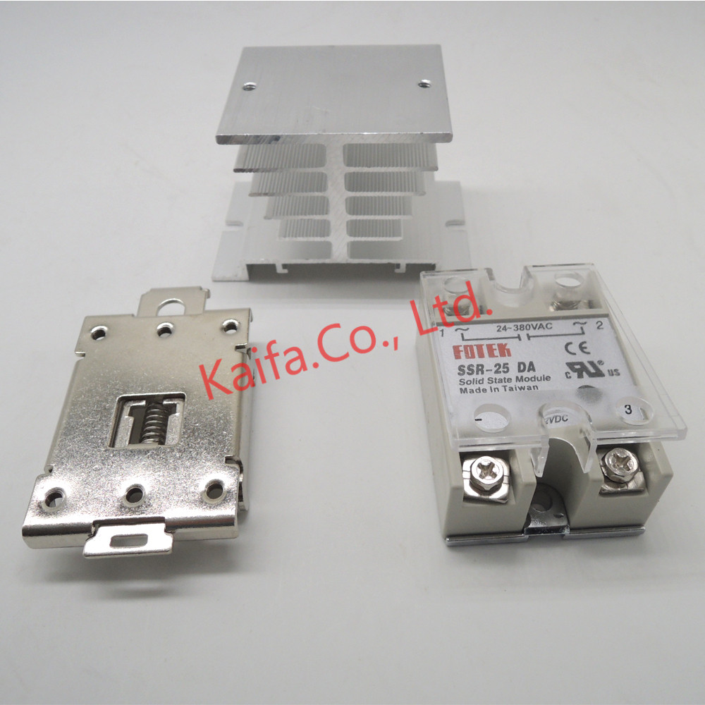 1pcs solid state relay SSR-25DA 25A 5-24V DC TO 24-380V AC SSR 25DA relay +1pcs Protective cover+1 pcs Heat sink+1 pcsclipclamp high quality dc to ac solid state relay ssr 60da 60a 4 32v 75 480v aluminium heat sink