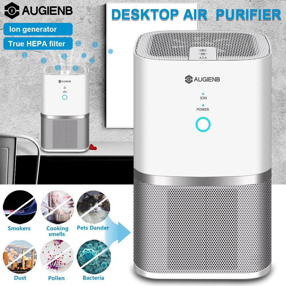 Augienb purificador de aire con HEPA carbón activo filtro de aire eliminar el polvo esterilizador olor fumador PM2.5 limpiador de aire para la oficina en casa