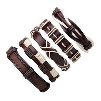 1Set/5-6PCs Punk Rock Skull Star Multi Charm Bracelet For Women Men Gothic Jewelry Braided Rope Leather Bracelet Men 1