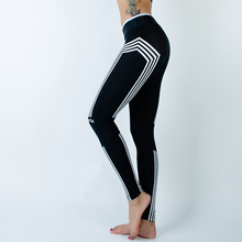 Women Sporting Leggings Athleisure Work Out Leggins Striped Silm Black Full Length Sporter Clothes Ladieswear Fitness Leggings