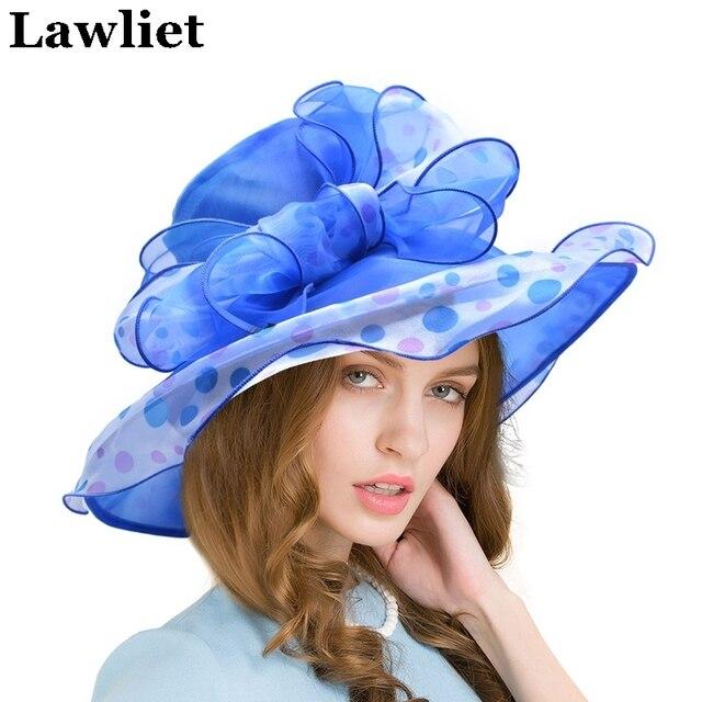 Le donne Kentucky Derby Cappelli di Organza Signore Cappelli da Sole con il  Disegno Del Puntino 62eee406bbba