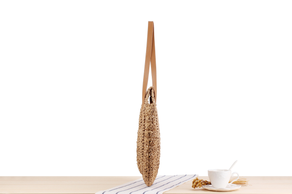 Round Straw Beach Bag Vintage Handmade Woven Shoulder Bag Raffia circle Rattan bags Bohemian Summer Vacation Casual Bags 5