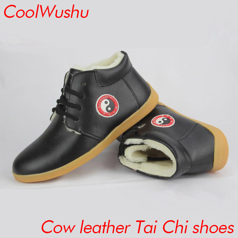 chinese tai chi shoes kung fu shoes wu shu xie taiji xie Cow Muscle Martial arts shoes CoolWushu Warm winter women and man wool цена 2017