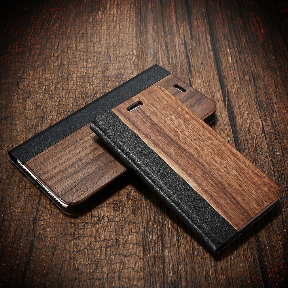 Bamboo Wood Leather Flip Mobile Phone Case For <font><b>iPhone</b></font> 7 7 Plus Natural Wood Card Slot Stand Protector Cover For iPhone7 7Plus