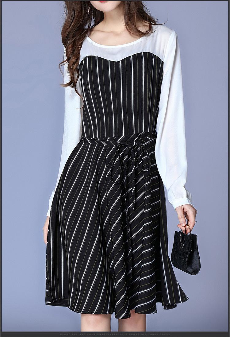 Plus Size Striped Patchwork Long Sleeve Drawstring Tunic Draped Dress Women  Elegant Casual Street Fashion Beach Dress Lady Cloth Dresses For Woman ...