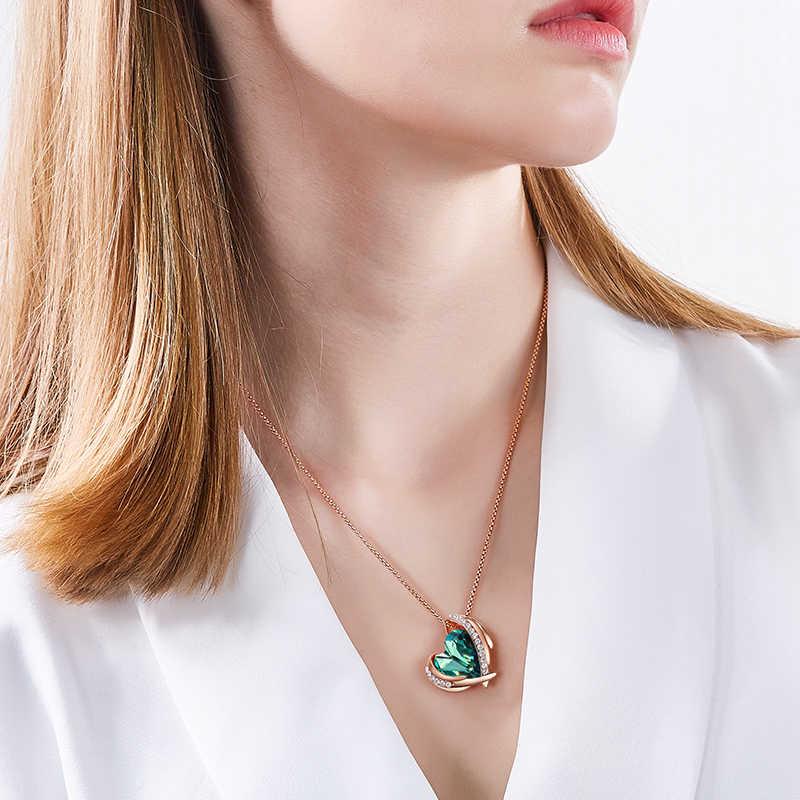 CDE ผู้หญิงจี้สร้อยคอจี้ประดับด้วยคริสตัลจาก Swarovski Angel ปีกหัวใจสร้อยคอเครื่องประดับ Collares ของขวัญ