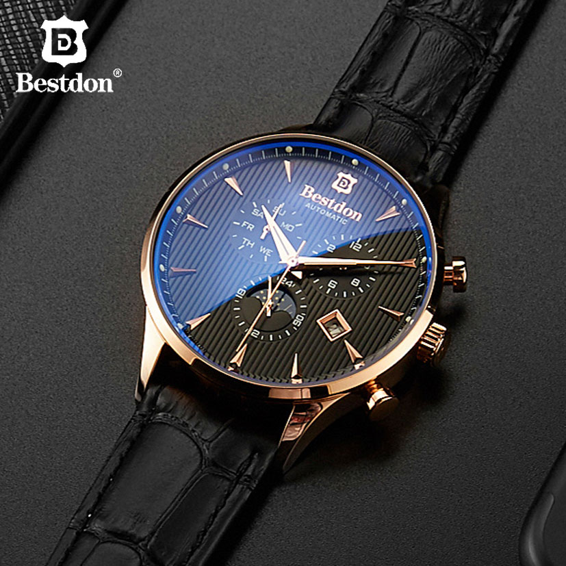 Image 3 - Bestdon Luxury Brand Watch Men Automatic Mechanical Watch Business Casual Switzerland Watches Moon Phase Blue Leather Strap 7116-in Mechanical Watches from Watches