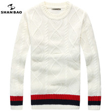 SHAN BAO brand Lingge cannabis round neck sweater in winter thick warm stripes men's wild sweater high quality 65% wool white