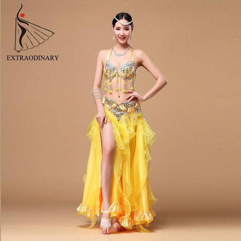 Belly Dance Costumes Set Women Dancewear Professional Oriental dance Costume Skirt BellyDance Bra Belt Beads 3Pcs