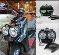 Frente Bug Eyed Dual Head Light Lâmpada Farol Farol + Superior capa + Guarda Set Preto Para YAMAHA BWS Zuma 125 YW125