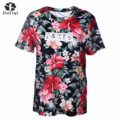 2017 New Tshirt Romantic Print Flower T shirt Women Ropa Mujer Round Collar Summer Clothing Female