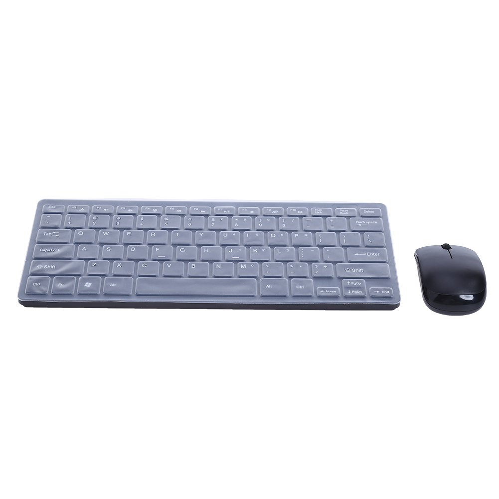 Ultra Thin 2.4GHz Wireless Keyboard Optical Mouse + Keyboard Protective Cover Combo Kit Gaming Keyboard Mouse for Laptop PC