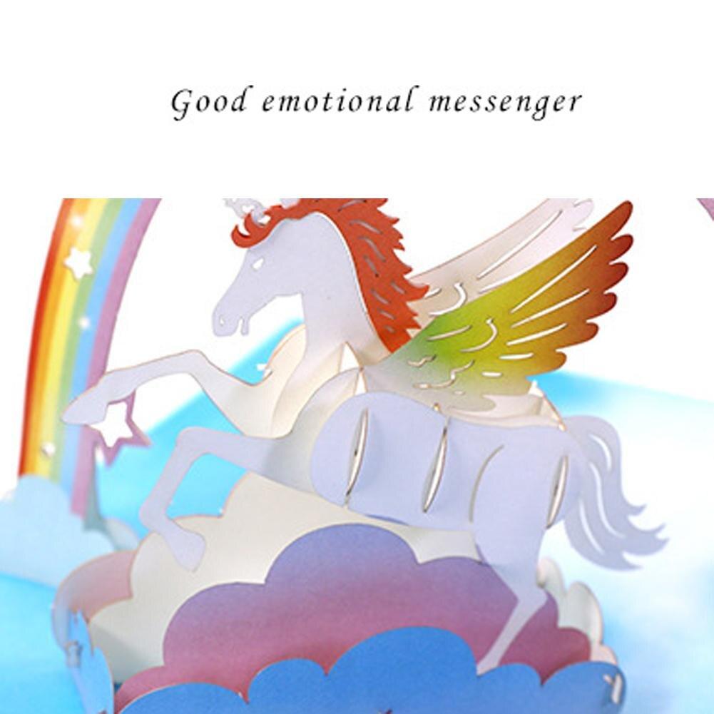 2018 3d Unicorn Pop Up Greeting Cards Invitation Laser Cut Post Card