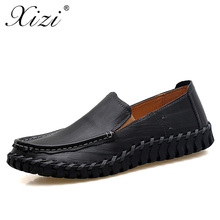 XIZI Brand Mens Handmade Genuine Leather Casual Shoes Slip-On italian Style Men leather Footwear Top Quality Man Driving Shoe цены онлайн