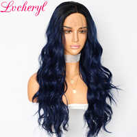 Lvcheryl Party Wigs Trendy Ombre Blue Hair Dark Roots Natural Wave Cosplay Hair Synthetic Lace Front Wigs for Women Makeup