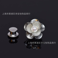 Classical pearl Mother Bay flowers design shirt collar pin brooch lady fashion accessory Thorn pin cuff link insignia jewelry
