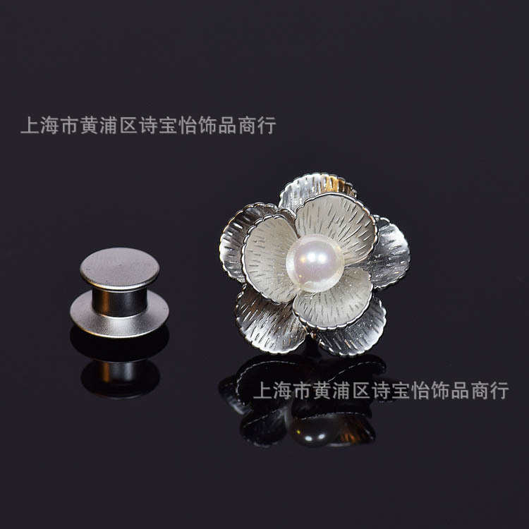 Classical pearl Mother Bay flowers design shirt collar pin brooch lady fashion accessory Thorn pin cuff-link insignia jewelry contrast collar & cuff pearl beading dress