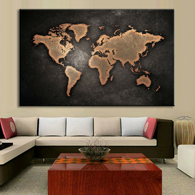 1PCS/Set Huge Black World Map Paintings Print On Canvas HD Abstract World Map Canvas Painting Wall Art Home decor w/0622
