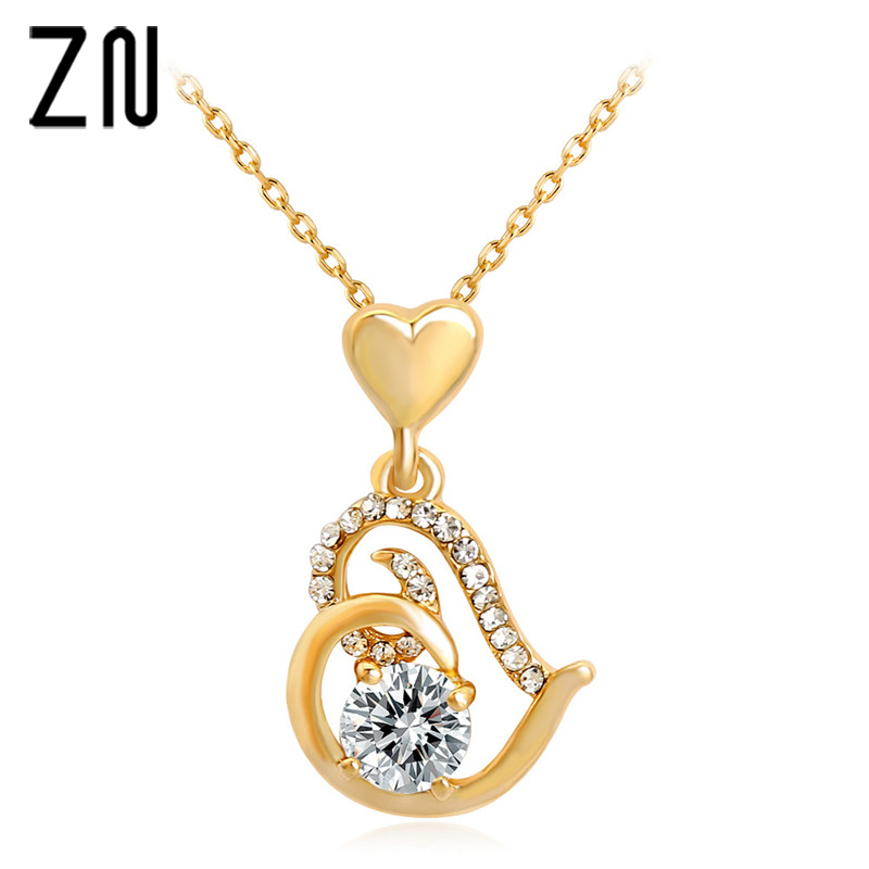 ZN 2018 New Rose Gold Color Stellux Crystals Heart Pendant Necklace for Women Valentine's Day Gift of Love