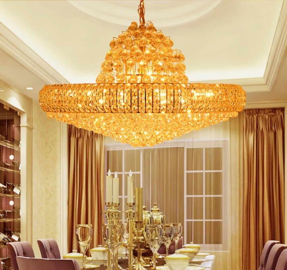 LED Moderne Gouden K9 Kristallen Kroonluchter Grote Ronde Gouden - Binnenverlichting - Foto 3