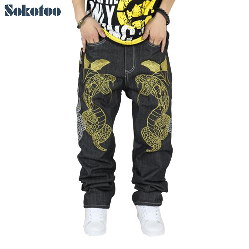 Sokotoo Hip Hop Jeans Streetwear Male Plus Size Loose Denim Pants Personality Snake Embroidery Straight Long Trousers For Men