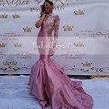 Africana largo Vestido de Cuello Alto Único de Manga Larga hombro Escarpado Opacidad Stretch Satén Rosa de Encaje Sirena vestidos de Baile vestidos