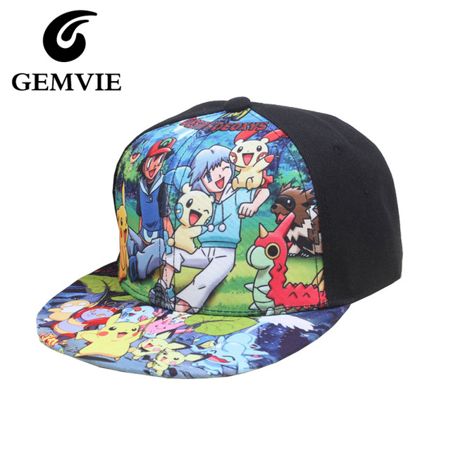 Children Cartoon Pokemon Go Black Canvas Baseball Caps Gifts For Boys And  Girls Cute Printed Hats 32d19d45c63d