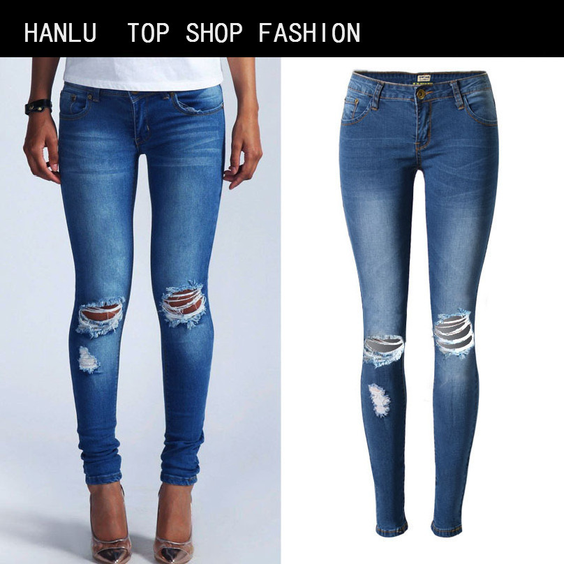 HANLU Fashion Dark Blue Low Waist Holes Slim Jeans Women Stretch Jeans Women Skinny Pencil Pants Cotton Plus Size jeans rosicil new women jeans low waist stretch ankle length slim pencil pants fashion female jeans plus size jeans femme 2017 tsl049