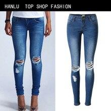 HANLU Fashion Dark Blue Low Waist Holes Slim Jeans Women Stretch Jeans Women Skinny Pencil Pants Cotton Plus Size jeans