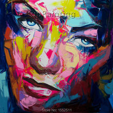 Palette knife painting portrait Face Oil Impasto figure on canvas Hand painted Francoise Nielly 14-64