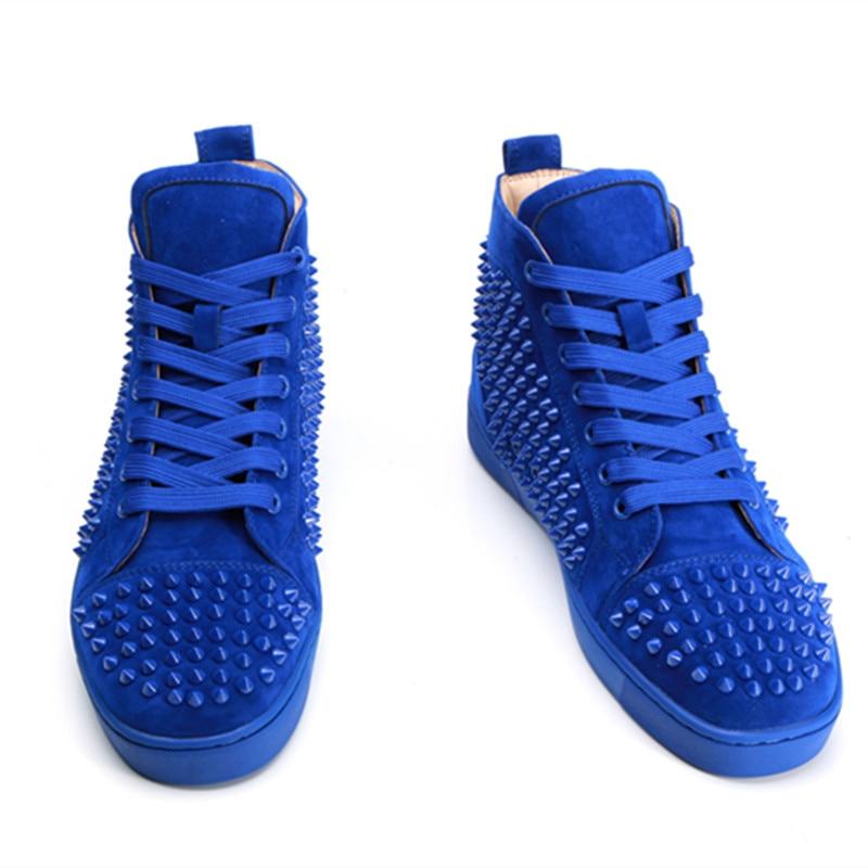 Hommes Spike Stud en cuir chaussures décontractées rivets sneaker à lacets plat haut hommes décontracté en plein air hommes chaussures Zapatillas Hombre - 6