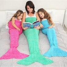 CAMMITEVER 14 Colors Mermaid Tail Blanket Crochet Mermaid Blanket For Adult Super Soft All Seasons Sleeping Knitted Blankets super soft color block knitted mermaid tail blanket
