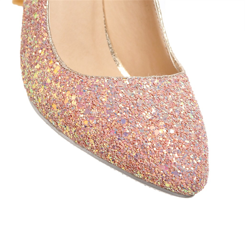 KARINLUNA Large Size 34-43 Office Lady Foowear Bling Upper Thin Heels Woman Shoes Elegant Pink White Black Wedding Pumps