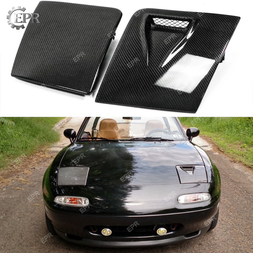 For Mazda MX5 NA MK1 Miata Carbon Fiber LHS Vented Headlight Cover Glossy Kits