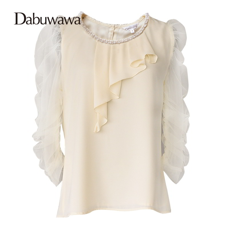 Dabuwawa O-Neck Ladies Chiffon Long Sleeve Blouses Tops Spring Causal Pleated Elegant Blouses Shirt Feminine Tops #D17CST016